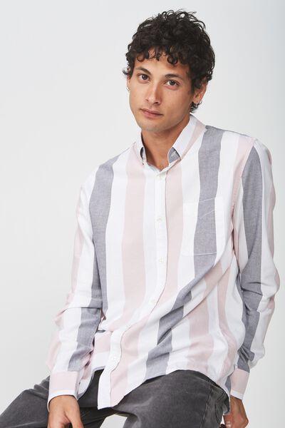 Brunswick Shirt 3, CHARCOAL PINK BOLD STRIPE