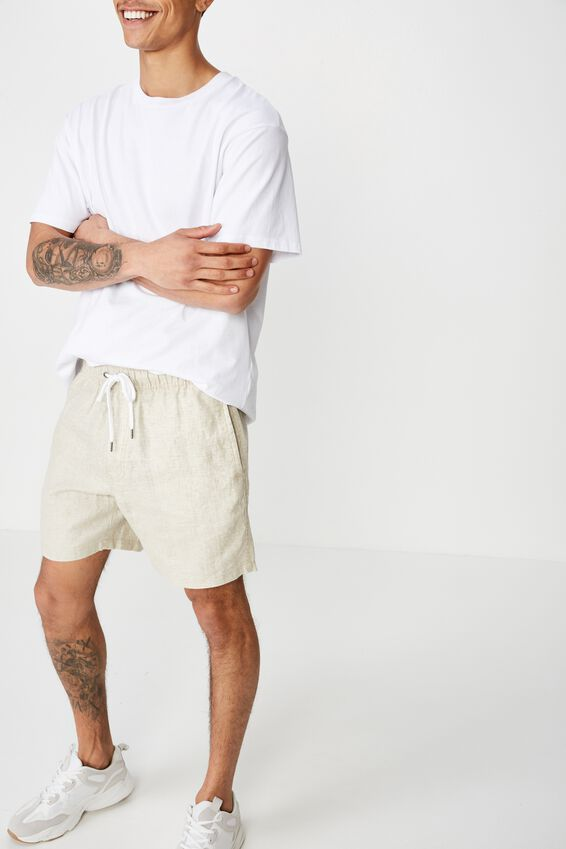 Linen Volley Short, WASHED OATMEAL