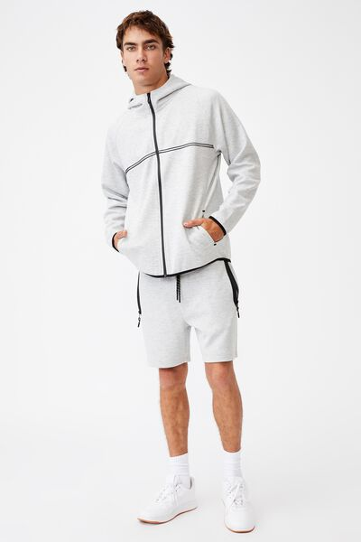 Active Tech Fleece Short, LIGHT GREY MARLE