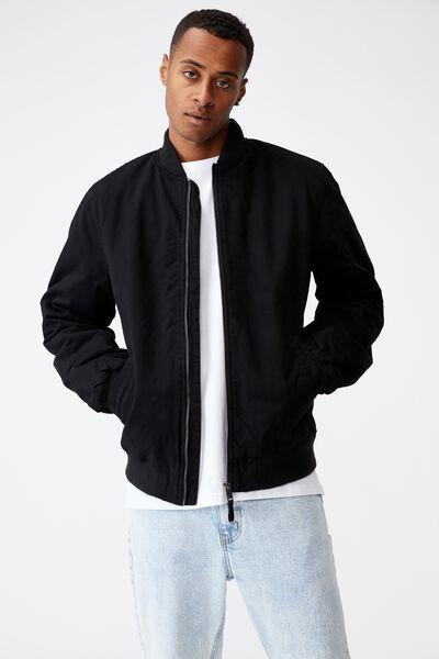 Twill Bomber Jacket, BLACK