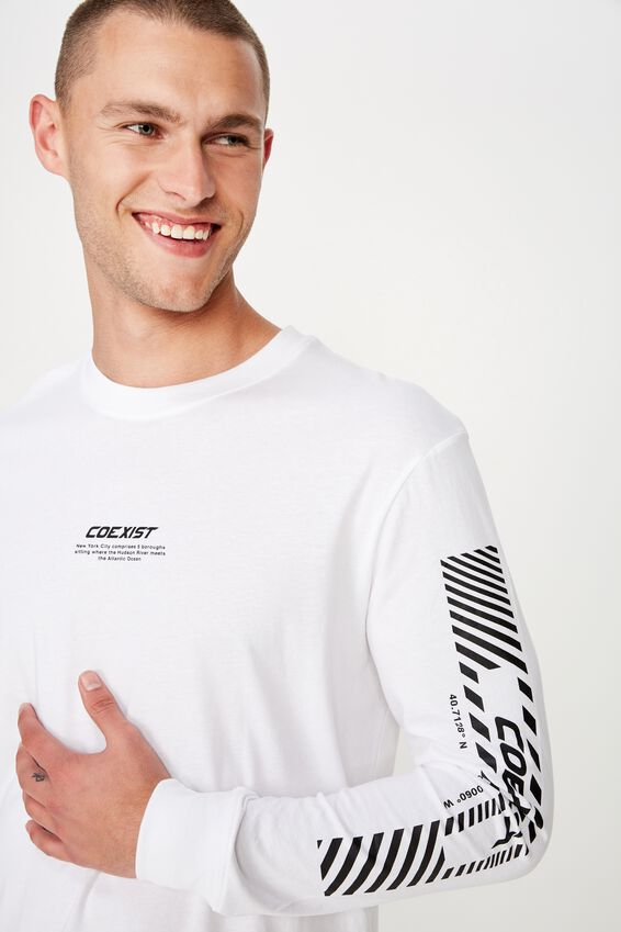 Tbar Long Sleeve, WHITE/COEXIST
