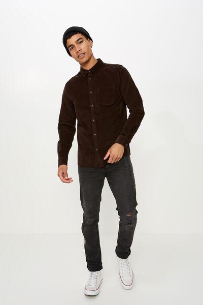 Rugged Long Sleeve Shirt, CHOCOLATE CORD