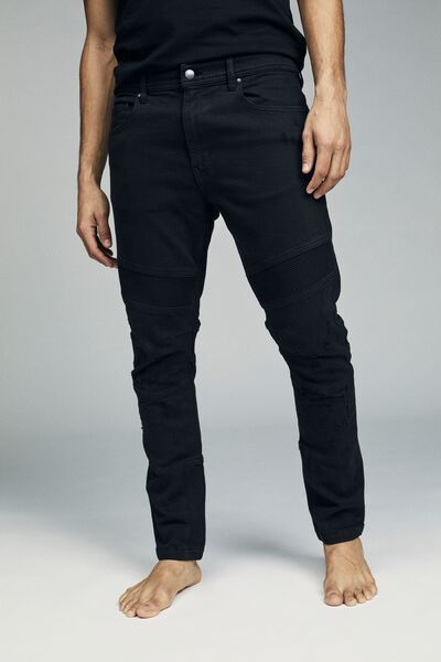 Skinny Tapered Jean, RIBBED BLACK