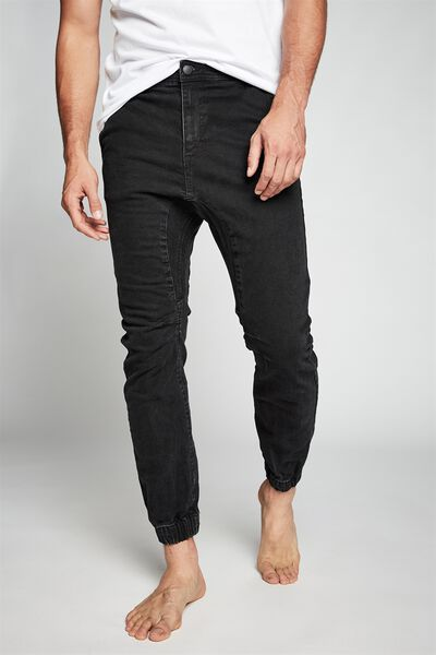 Slim Denim Jogger, BLACK