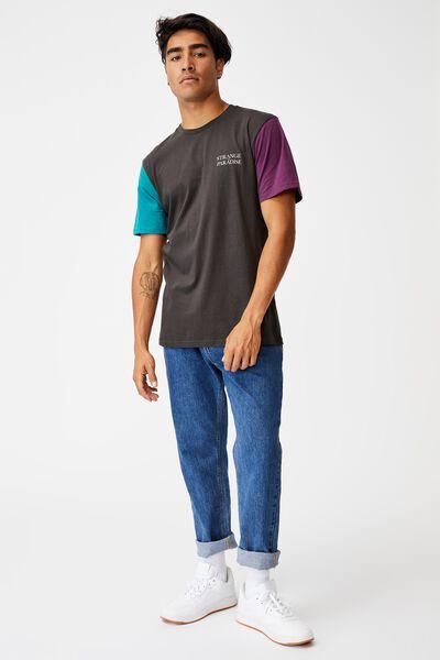 Tbar Text T-Shirt, WASHED BLACK/GRAPE/TEAL POP/STRANGE PARADISE