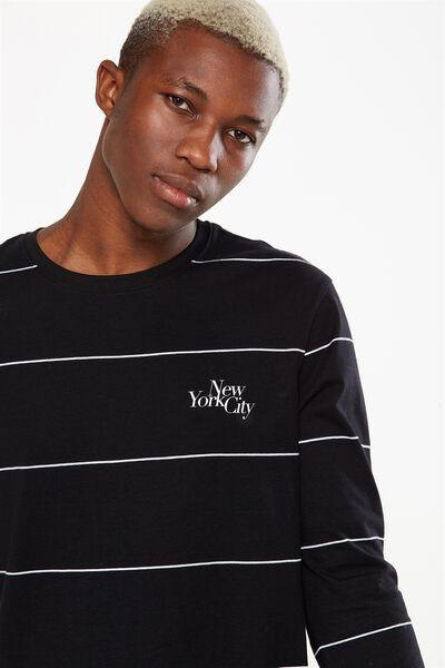 Tbar Long Sleeve, BLACK/WHITE WIDE STRIPE/NEW YORK SLANT