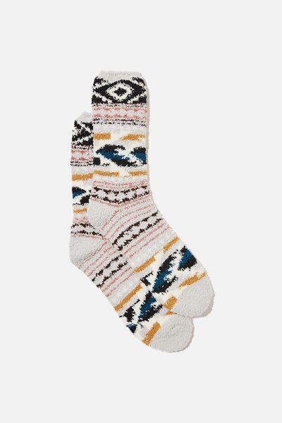 Fluffy Bed Sock, DUSK IKAT