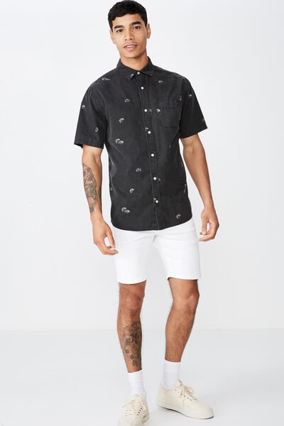 Vintage Prep Short Sleeve Shirt, BLACK GEO