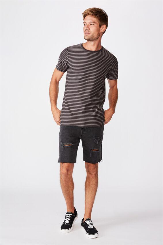 Tbar Premium T-Shirt, FADED SLATE SELF STRIPE