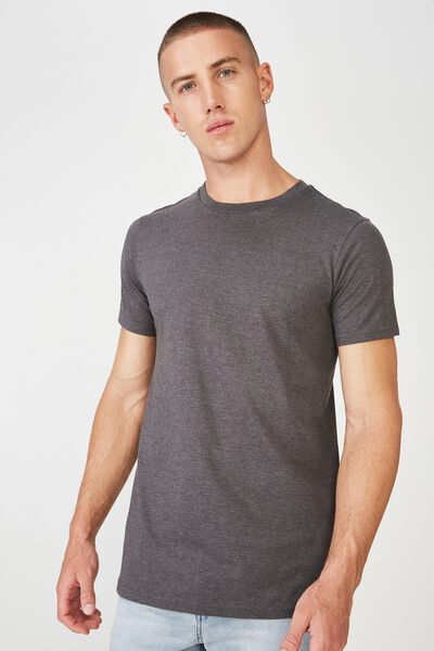 Essential Longline Curved Hem, CHARCOAL MARLE