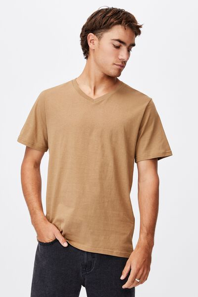 Essential Vee Neck T-Shirt, AGED CAMEL
