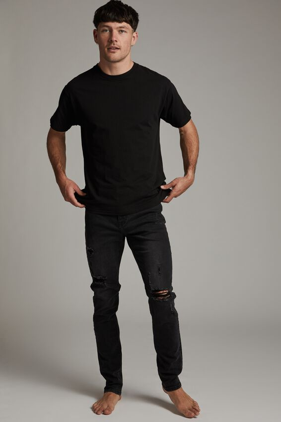 Slim Fit Jean, RAVEN BLACK + RIPS