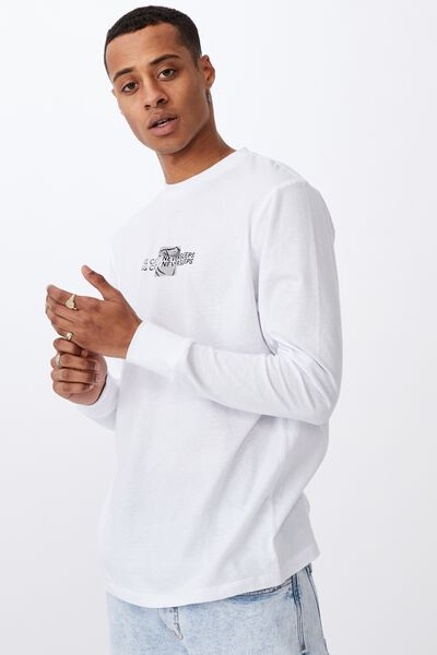 Tbar Long Sleeve T-Shirt, WHITE/NO GOING BACK TAPE
