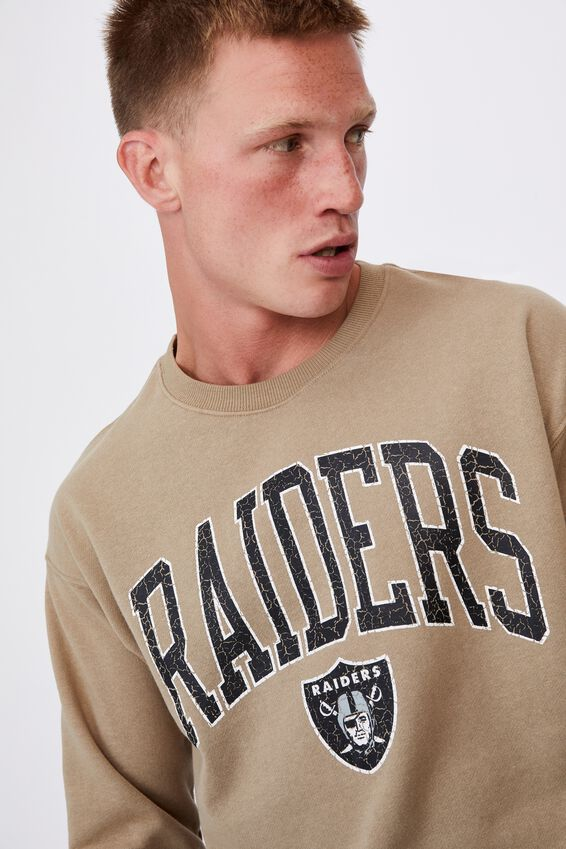 Active Nfl Oversized Crew Fleece, LCN NFL GRAVEL STONE/RAIDERS