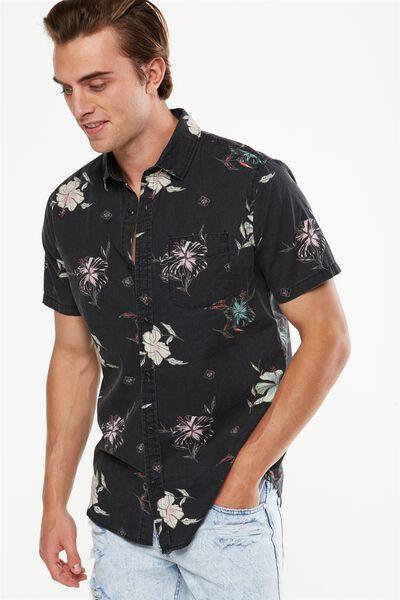 Vintage Prep Short Sleeve Shirt, MIDNIGHT FLORAL PRINT
