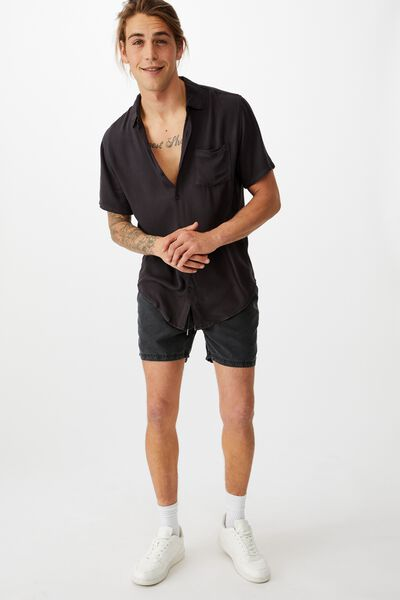 Cuban Short Sleeve Shirt, WASHED BLACK