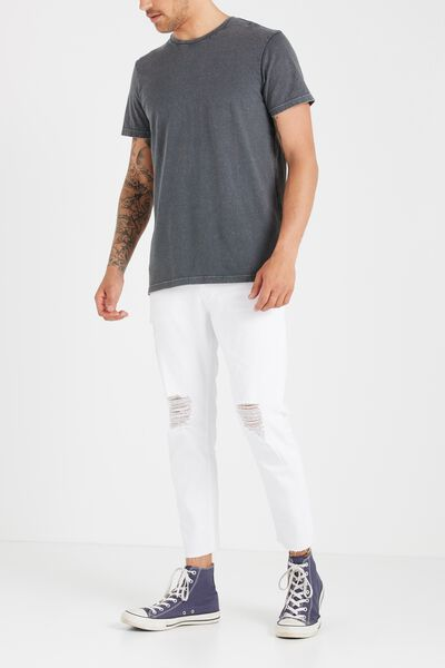 Tapered Leg Jean, SONIC WHITE GRAZER WITH RIPS