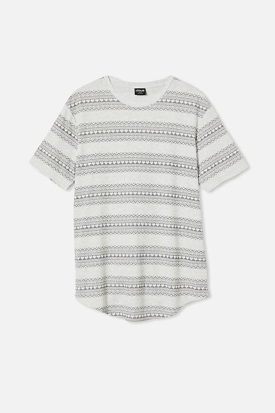 Longline Scoop Graphic Waffle T-Shirt, HEART FAIR ISLE PHANTOM