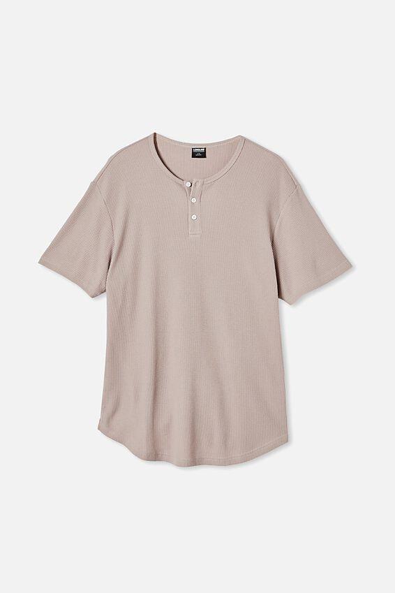 Longline Scoop Henley Waffle T-Shirt, DUSK