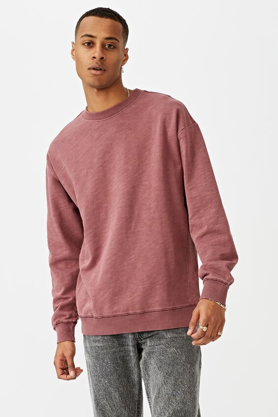 Pigment Dyed Oversized Crew, AGED WINE