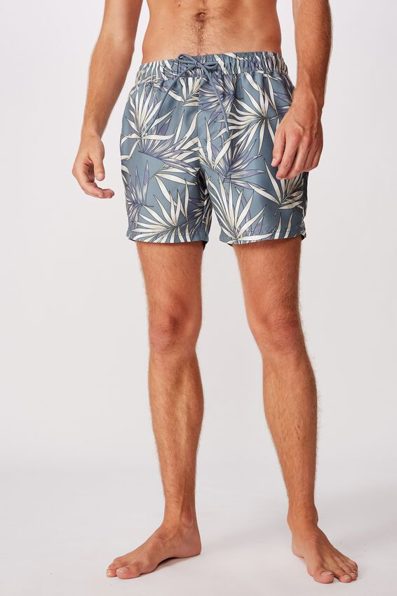 Swim Short, WASHED TEAL FERN LEAF