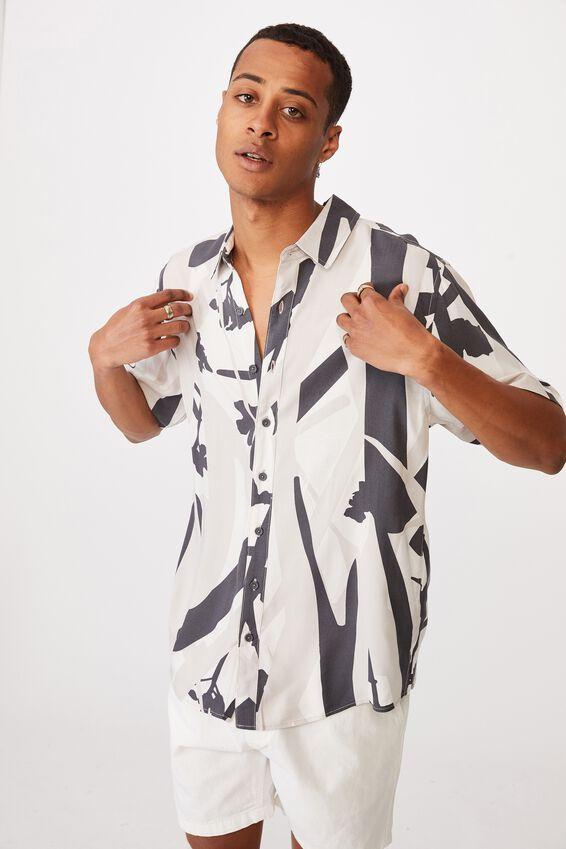 Short Sleeve Resort Shirt, SAND IMPACT FLORAL