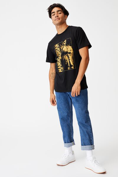 Tbar Collab Movie And Tv T-Shirt, LCN DIS BLACK/THE MANDALORIAN - HALF TONE POS