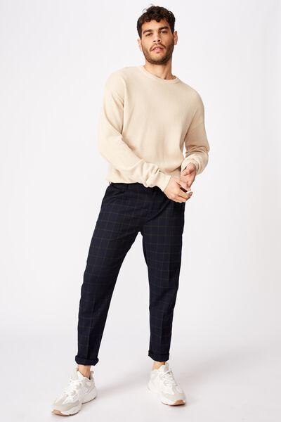 Oxford Trouser, NAVY GREEN CHECK