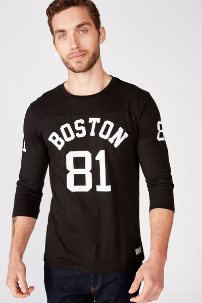 Tbar 3/4 Baseball Tee, BLACK/BOSTON 81