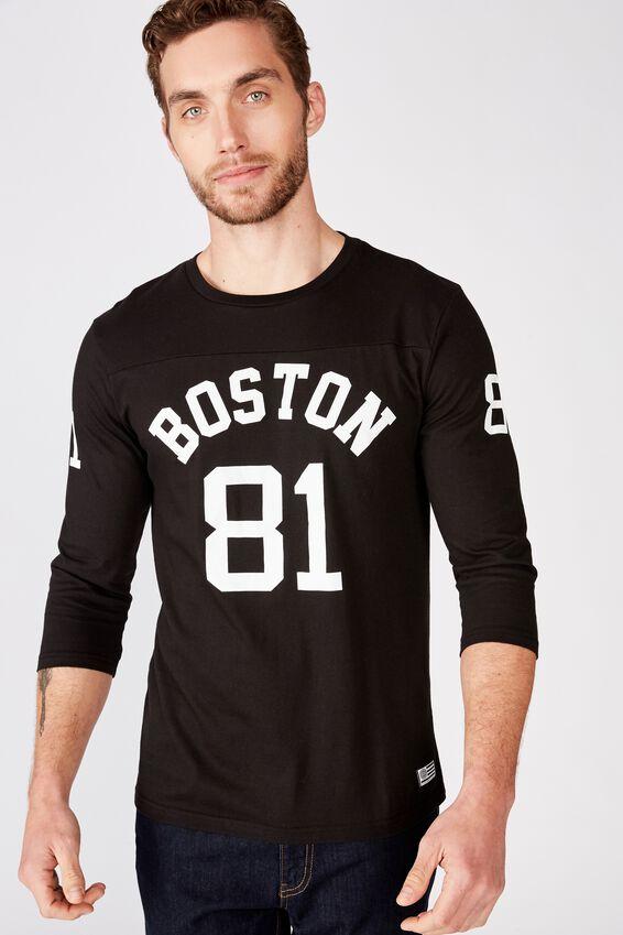 Tbar 3/4 Baseball Tee, BLACK/BOSTON 81