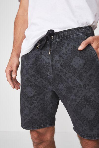 Customised Denim Short, RIGID PAISLEY BLACK