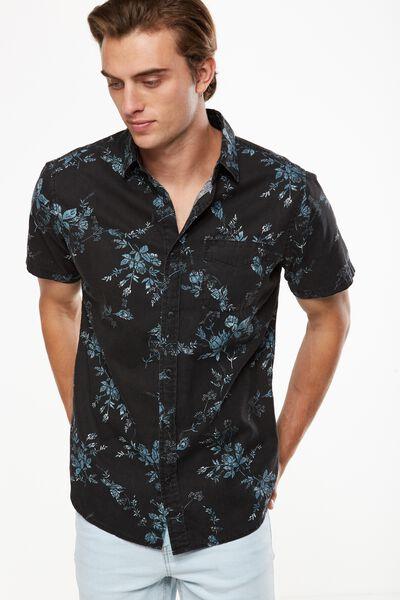 Vintage Prep Short Sleeve Shirt, BLACK ROSE