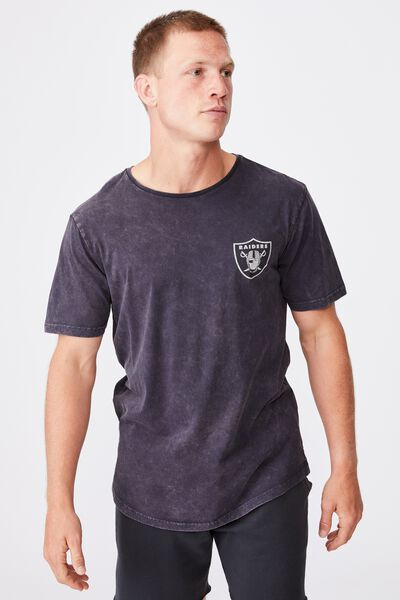 Longline Scoop T-Shirt, LCN NFL INK NAVY/RAIDERS SHIELD