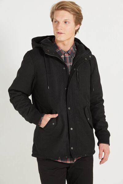 Melton Duffle Jacket, BLACK