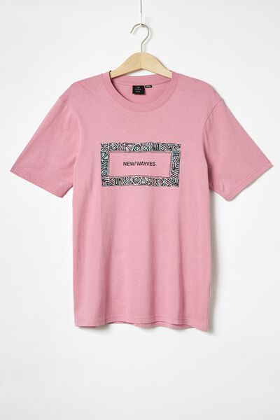 Tbar Art T-Shirt, SK8 FADED FUSCHIA/NEW WAYVES BORDER