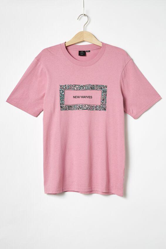 Tbar Art T-Shirt, SK8 FADED FUSCHIA/NEW WAYVES BORDER