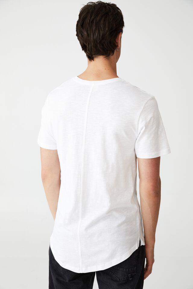 Curved Hem T-Shirt, WHITE TEXTURED