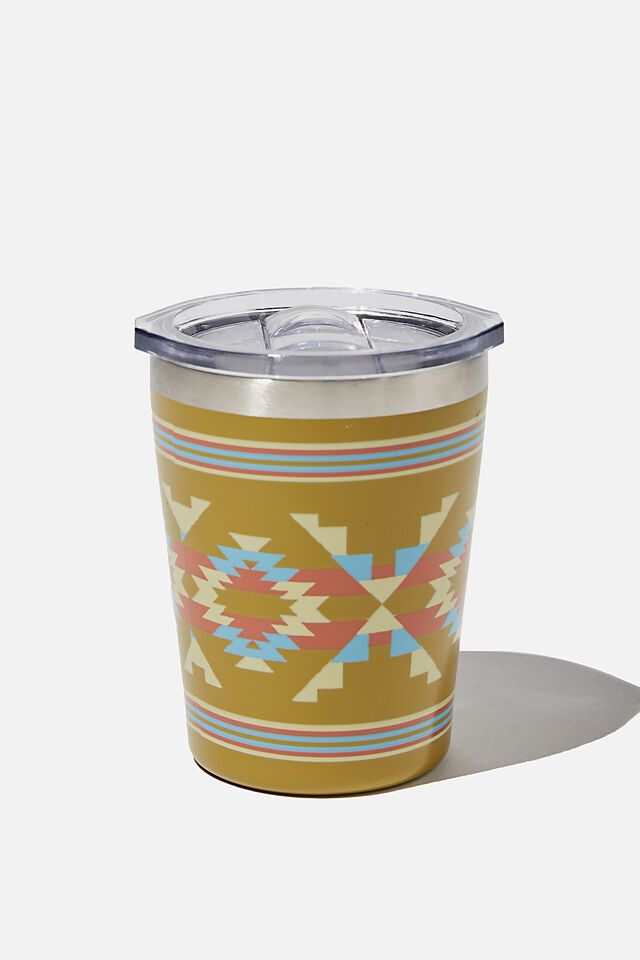 Small Stainless Steel Tumbler, GOLD IKAT