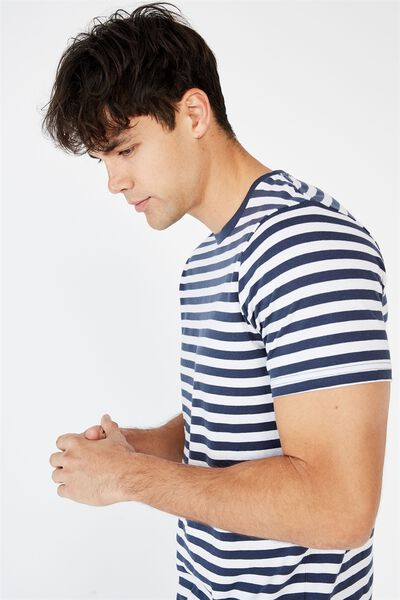 Tbar Premium T-Shirt, TRUE NAVY WHITE 50 50 STRIPE