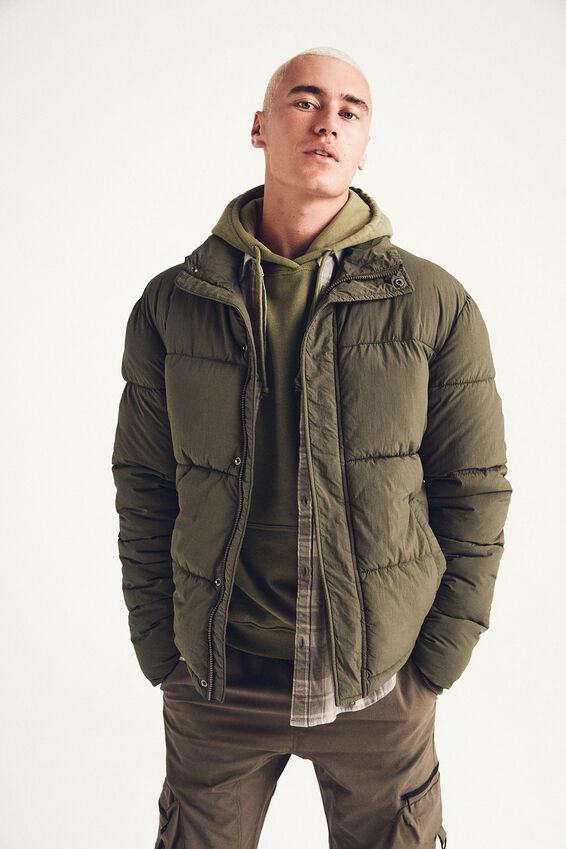 Essential Recycled Puffer, OLIVE