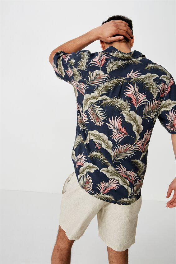 Short Sleeve Resort Shirt, NAVY OVERSIZED FLORAL