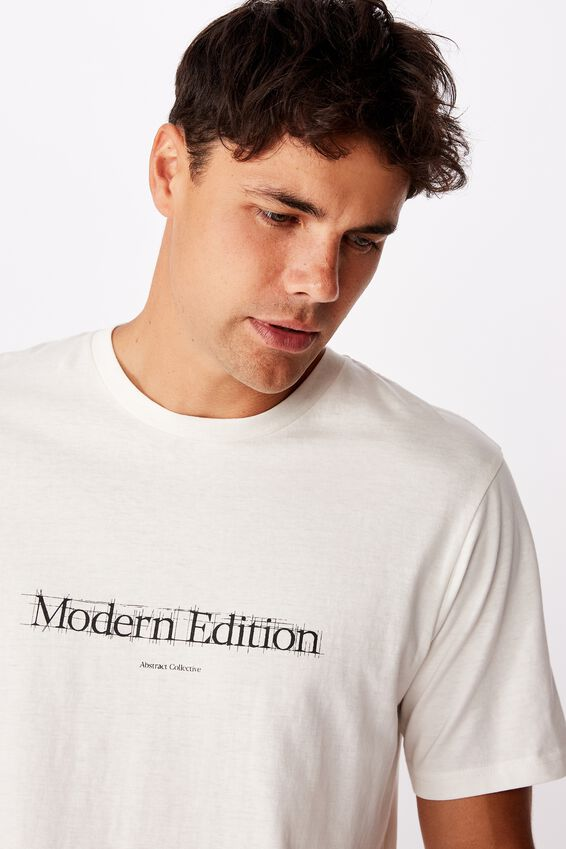 Tbar Text T-Shirt, VINTAGE WHITE/MODERN EDITION SKETCH