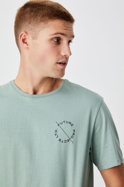 Longline Scoop T-Shirt, WASHED TEAL/FUTURE INDUSTRIES