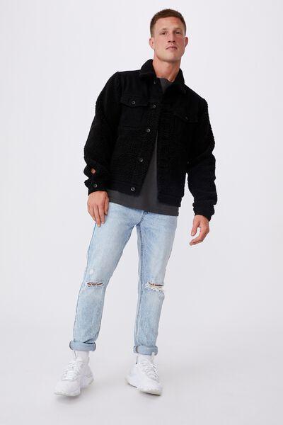 Teddy Panel Jacket, BLACK