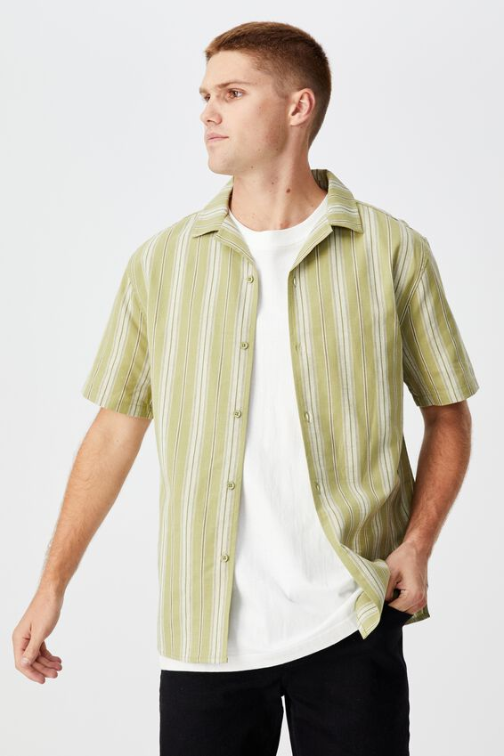 Textured Short Sleeve Shirt, OLIVE WIDE STRIPE