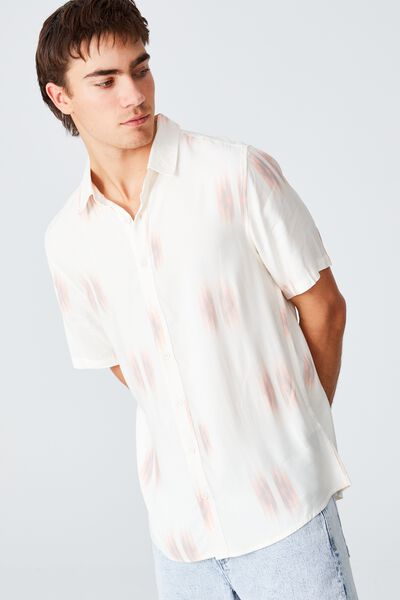 Vacation Short Sleeve Shirt, WHITE IKAT BLUR