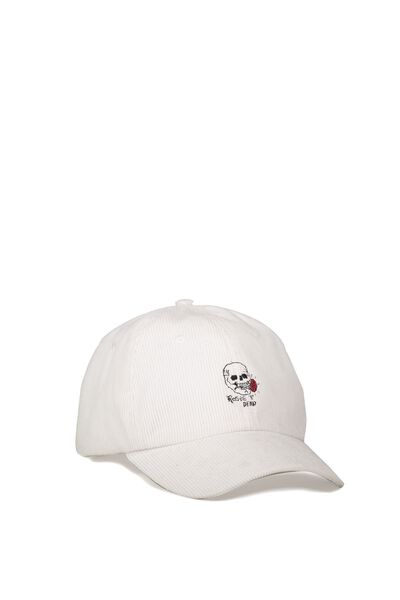 Strap Back Dad Hat, ROSES/WHITE CORD