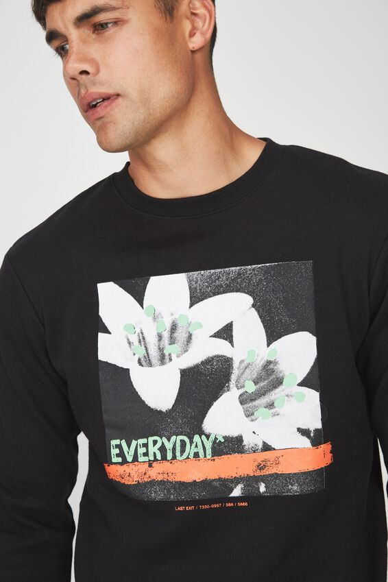 Crew Fleece 2, BLACK/EVERYDAY FLOWERS