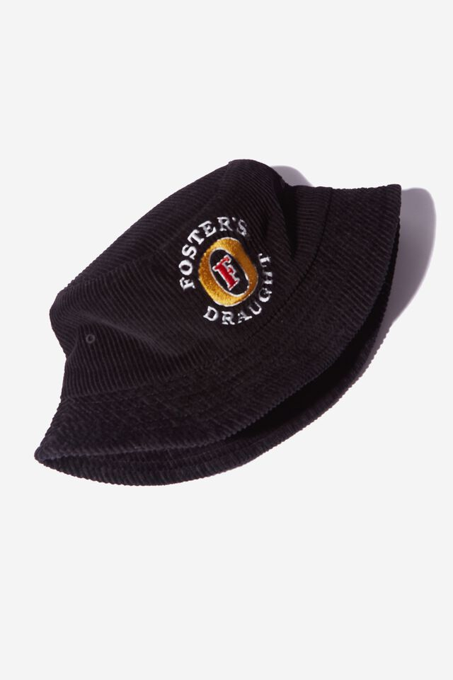 Fosters Bucket Hat, LCN FOS WASHED BLACK/FOSTERS LOGO