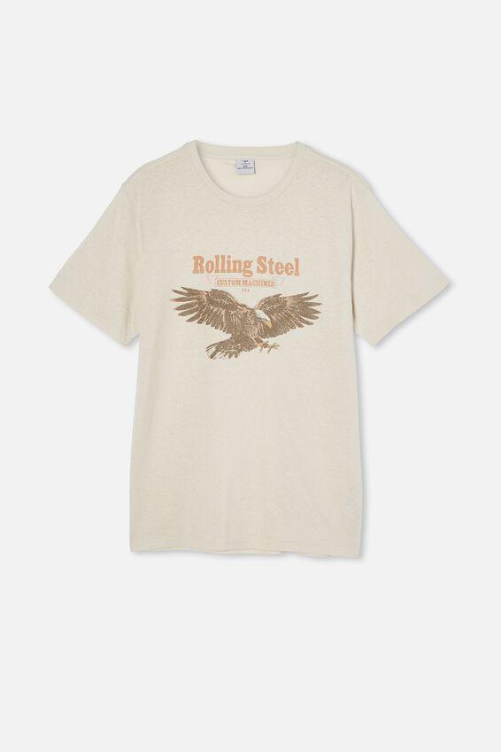 Tbar Moto T-Shirt, BONE/ROLLING STEEL